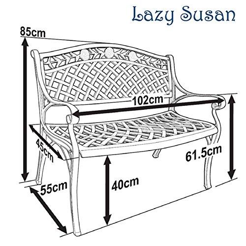 Lazy Susan – SANDRA Quadratischer Kaffeetisch mit 1 ROSE Gartenbank – Gartenmöbel Set aus Metall, Antik Bronze (Beiges Kissen) - 7