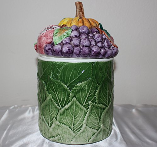 Horchow Cookie Jar Pottery Hand Painted Jar Made in Italy Berries Fruit Top