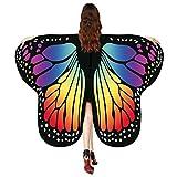 Andouy Damen/Kinder Schmetterlingsflügel Schal Nymphe Pixie Flügel Poncho Kostümzubehör für Party Weihnachten Cosplay(175X125CM.Mehrfarbig)