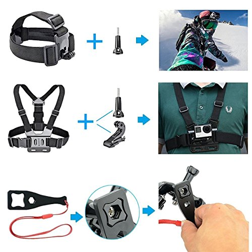 HAPY Sports Action Professional Video Camera Accessory Kit for GoPro Hero 8 6 5 Black, Gopro Max,Hero Session,Hero (2018),HERO7, 6,5,4,3,3+, GoPro Fusion,SJCAM,AKASO,Xiaomi,DBPOWER,Camera Kit