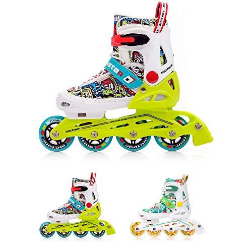 meteor® Inliner Rollen Inline-Skates Damen Inliner Kinder Original Inline Skates - ABEC7 Inliner mit Einstellbarer Größe Inline-Skates Kinder (EU 30-33 (S), Monster)