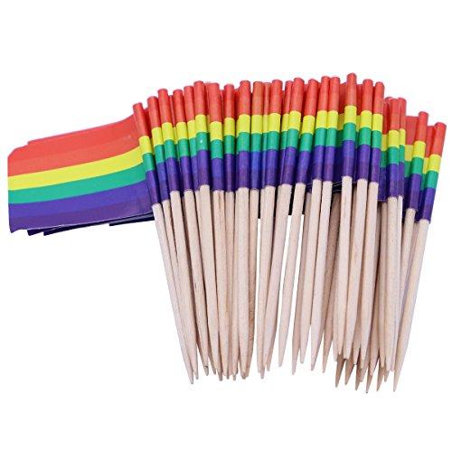 Toyvian 200 Stück Regenbogen-Flagge Picks Lebensmittel Obst Zahnstocher Cupcake Toppers Party Dekorationen Cocktailsticks für Motto-Party Dekorationen