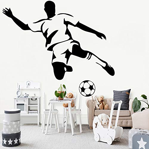 JXWH Adesivi murali Calcio Cameretta per Ragazzi Decorazione artistica Adesivi murali in vinile Calcio Decorazioni per la casa Soggiorno Scuola Materna Ragazzo Cameretta per Bambini