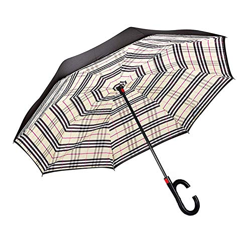 MASTERCANOPY Inverted Umbrella,Double Layer Reverse Windproof Teflon Repellent Umbrella for Car and Outdoor Use, UPF 50+ Big Stick Umbrella with C-Shaped Handle and Carrying Bag,Burberry Plaid