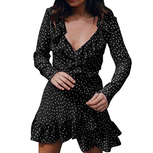Kolylong Kleid Damen Frauen Elegant V-Ausschnitt Langarm Kleid Vintage Polka Dots Mini Kleid Festlich Chiffon Kleider Sommer Strandkleid Bodycon Party Kleid Abendkleid Bluse Top (S, Schwarz)