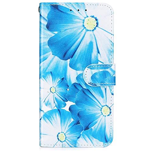 Hpory Kompatibel mit Galaxy J4 Plus Hülle, Samsung Galaxy J4 Plus Handyhülle Foto Muster PU Leder mit Standfunktion Kartenfächer Geldbörse Wallet Case Cover Etui Schutzhülle Tasche - Blau Gelb