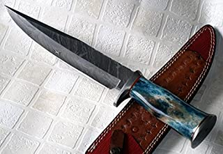 REG-022-80, Handmade Damascus Steel 15 Inches Bowie Knife - Stained Bone Handle