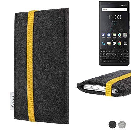 flat.design Handy Hülle Coimbra kompatibel mit BlackBerry KEY2 (Dual-SIM) passexakt Handytasche Filz Tasche fair schwarz gelb