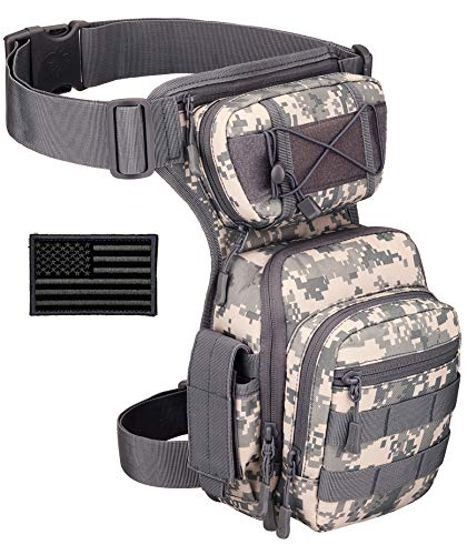 Protector Plus Tactical Drop Leg Bag Military Tool Gear Fanny Thigh Pack Utility Airsoft Motorcycle Cycling Waist Gear Pouch (Patch Included), ACU