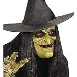 WIDMANN Generique - Media máscara Bruja Chica Con El Pelo Para Halloween
