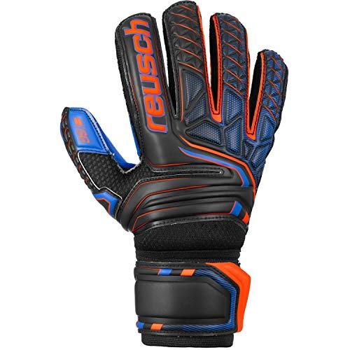 Reusch Attrakt SG Extra Finger Support Guanti da Portiere Unisex Adulto, Nero/Arancione/Blu Scuro, 9.5