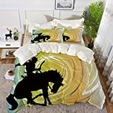 Western - Silueta de caballo galopante multicolor con forma de círculo, diseño abstracto, multicolor, microfibra, Style2., 220 x 240cm