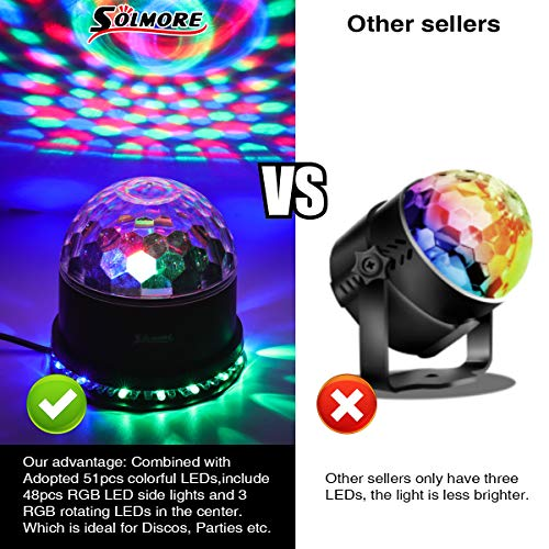 LED Discokugel,SOLMORE 51LEDs 12W Discolampe Partyleuchte RGB Lichteffekt Bühnenbeleuchtung Party Licht Weihnachten Deko - 6