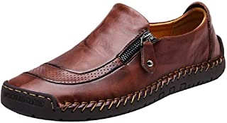 SuperDuo Men's 5709 Black/Light Brown Slip on Leather Fashion Casual Slip-on Flats Driving Loafers Shoes