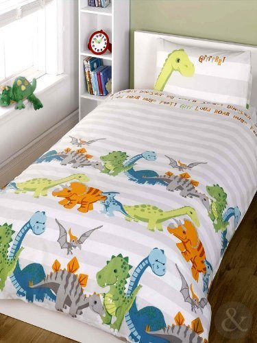 Just Contempo Kids Dinosaur Duvet Cover Set, Single, Grey by Just Contempo