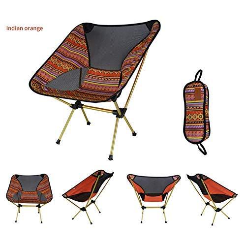 BIGBIGWORLD Draagbare kampeerstoel, ultra licht opvouwbare rugzak Indiase patroon stoelen, 600D Oxford doek opvouwbare Outdoor stoel Heavy Duty 150kg Capaciteit voor vissen, BBQ, strand, picknick, wandelen