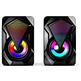 DragonPad Heavy Subwoofer X2 Colorful Lights Effect RGB Speaker Computer Stereo Multimedia USB Heavy Subwoofer Black