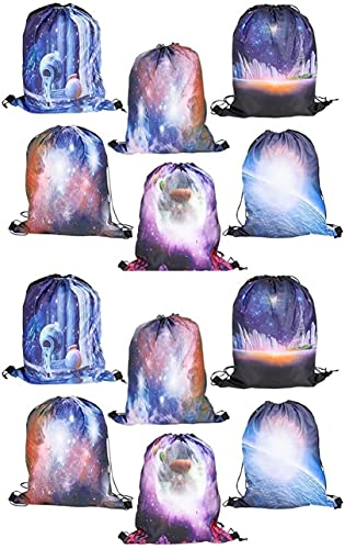 """Happy Deals~ 12 Pack - 17"""" Galaxy Backpacks- Tote Bags - Space Theme Party Supplies"""