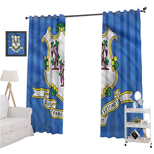 nooweihome American GrommetCurtainPanels Connecticut Flag Baroque Protect Furniture W108 x L84