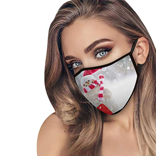 lady hill-iu Weihnachtsdruck Erwachsenen Gesichtsmaske Unisex waschbar bedruckt atmungsaktiv wiederverwendbare Polyestermaske
