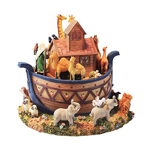 zxb-shop Caja de música Animal World Music Box, Resin Music Box, Decoración Creativa for el hogar, Diseño de Arca, Giratorio, Cumpleaños for niños y niñas/Regalos navideños Musical Caja