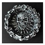 Cráneos decorativos y huesos cruzados en llamas para decoraciones de Halloween o decoración del hogar como regalo de fantasía aterrador bandeja de cenizas (color: gris) YXF99 (color: gris)