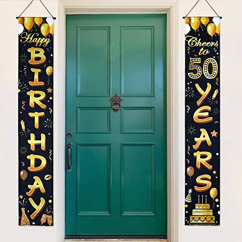 Decoración de Fiesta de 50 Cumpleaños 2Piezas Pancarta 50 Cumpleaños Guirnalda Cartel Feliz Cumpleaños 50 Años Happy 50th Birthday Photocall Jardín Puerta Pared Porche Photo Booth Props