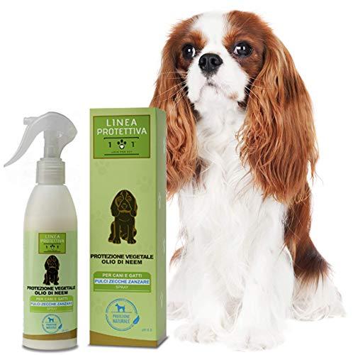Protezione Vegetale Spray con Olio di Neem per Cani e Gatti - Repellente Contro Pulci, Zecche e Zanzare - Azione Naturale Contro i parassiti - Linea 101, 250 Ml