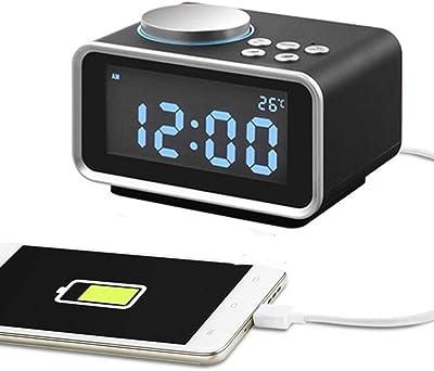 ZOUQILAI Reloj de Alarma Digital Pantalla LED Snooze Radio FM USB Carga Dimmer Pantalla de Temperatura