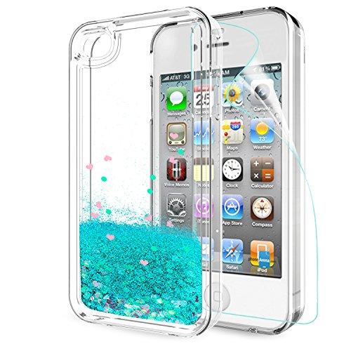 LeYi Hülle iPhone 4 / iPhone 4S Glitzer Handyhülle mit HD Folie Schutzfolie,Cover TPU Bumper Silikon Flüssigkeit Treibsand Clear Schutzhülle für Case iPhone 4 Handy Hüllen ZX Turquoise
