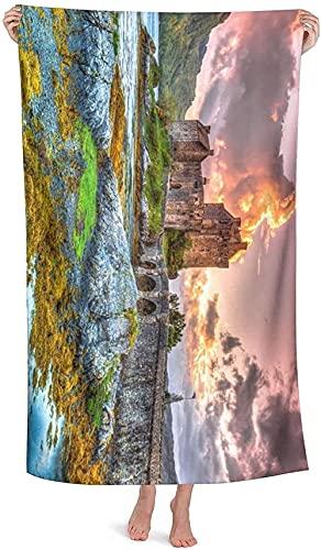 LUYIQ Toalla de Playa Grandes de Antiarena de Microfibra para Hombre Mujer, Castillo de la Princesa -150x70cm, Toallas Baño Secado Rapido para Piscina, Manta Playa, Toalla Yoga Deporte Gimnasio