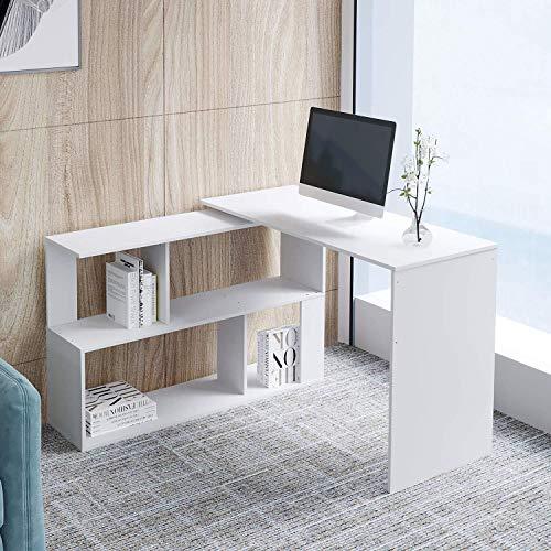 L.W.S Mesa plegable Mesa de ordenador plegable de OURWIN, TABLA DE CORTE DE LA ESPARA DE LA FORMA DE LA FORMA DE LA FORMA DE LA PC de 360 Rotación de la computadora con estante, mesa de estudio para
