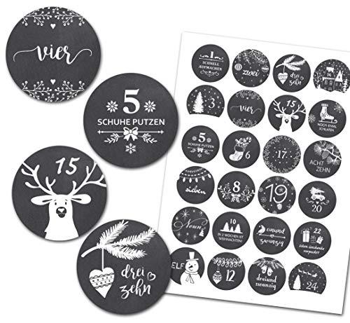 Kreatives Herz - 24 Adventskalender Zahlen - Aufkleber für Adventskalender (rund / matt/ 40mm) - Vintage TAFEL Winter - perfekt geeignet zum Adventskalender basteln und befüllen