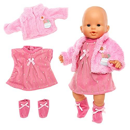 Miunana Kleidung Bekleidung Outfits für Baby Puppen, Puppenkleidung 35-40 cm, 3 teilig, Kleid Mantel Socke