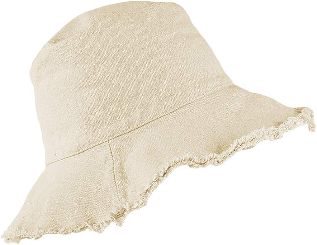 Bucket-Hat Distressed Sun-Protection Washed-Cotton - Summer Wide Brim(3.2inch Brim) Beach Cap