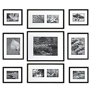 Gallery Perfect 9 Piece Black Wood Photo Frame Wall Gallery Kit. Includes: Frames, Hanging Wall Template, Decorative Art Prints and Hanging Hardware