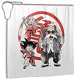 GSEGSEG Cortina de ducha de tela de poliéster impermeable, diseño de Dragon Ball Z Master Roshi Krillin Goten Sumie, cortina de baño decorativa con ganchos, 182,88 x 182,88 cm
