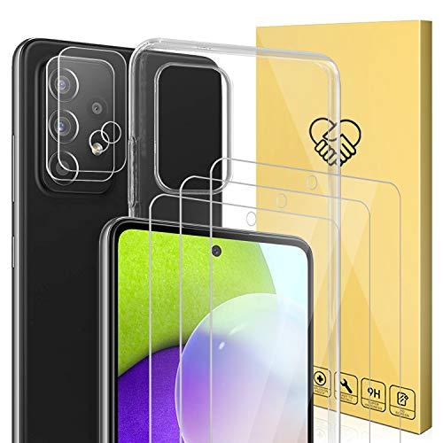 ANEWSIR 5 Stück Panzerglas Kompatibel mit Samsung Galaxy A52 4G/5G, Kamera Schutzfolie, 9H Klar Blasenfrei Displayschutz, 1X Weiche TPU Silikon Case Cover - Transparent.