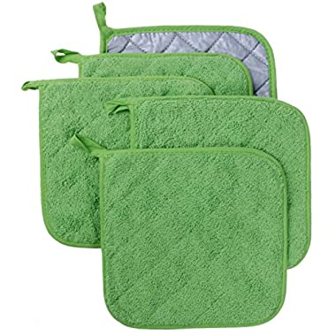 Lifaith 100% Cotton Kitchen Everyday Basic Terry Pot holder Heat Resistant Coaster Potholder for Cooking and Baking Set of 5 Apple Green
