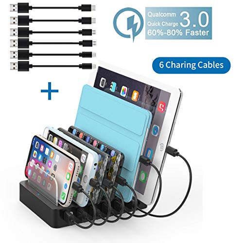 Sidiyang Multi Device Charging Station with QC 3.0 Quick Charge, 6-Port USB Charger Docking Station with Watch Stand Compatible with iPhone iPad and Android Cell Phone and Tablet