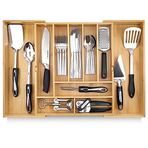 "Pristine Bamboo Adjustable Kitchen Utility Drawer Organizer - 17"" x 14.6"" (expands..."