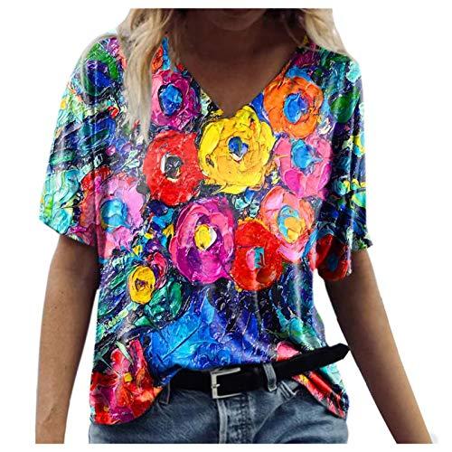 Camiseta informal para mujer, cuello en V, manga corta, diseño de flores, estilo vintage, 38#multicolor, XXXL