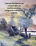 Bible journal: Y será como árbol plantado junto a arroyos de aguas. Salmos 1:3: Cuaderno con hojas a cuadros, tamaño grande, 80 páginas 21cmx27cm