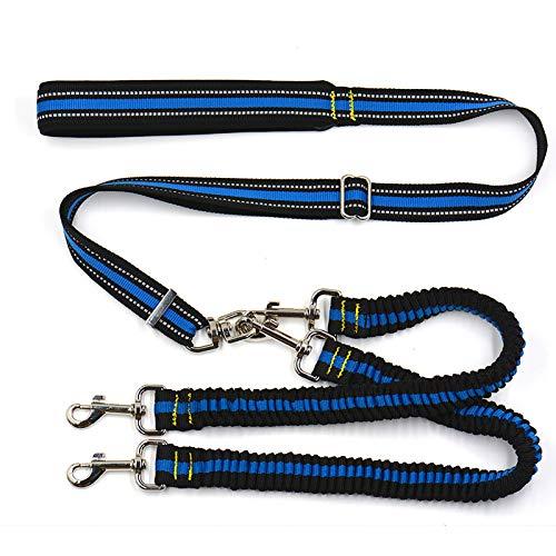CJFael Arnés para Perros con Correa para Mascotas, Cuerda De Tracción para Mascotas A Rayas, Ajustable, Sin Reflectante, Doble Cabeza, Acoplador De Correa para Perros para Caminar Azul
