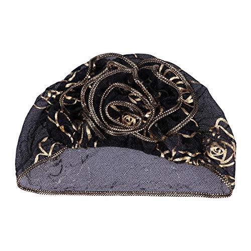 BESTOYARD Frauen Muslim Hut Schönheit Gaze Bronzing Floral Hut Muslim Rüschen Spitze Beanie Turban Cap (Schwarz)