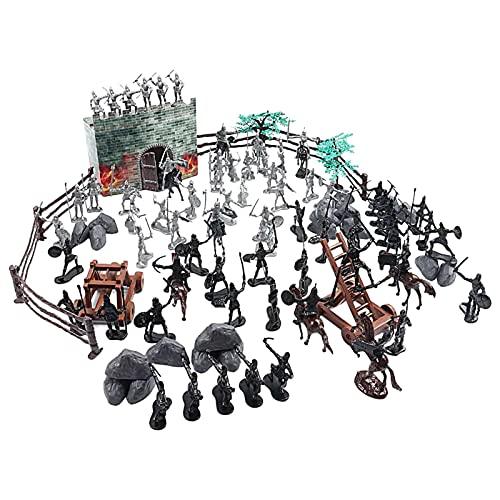 DELITLS 120pcs Fort Medieval Soldados DIY Edificio Castillo miniatura Modelo Set Caballero