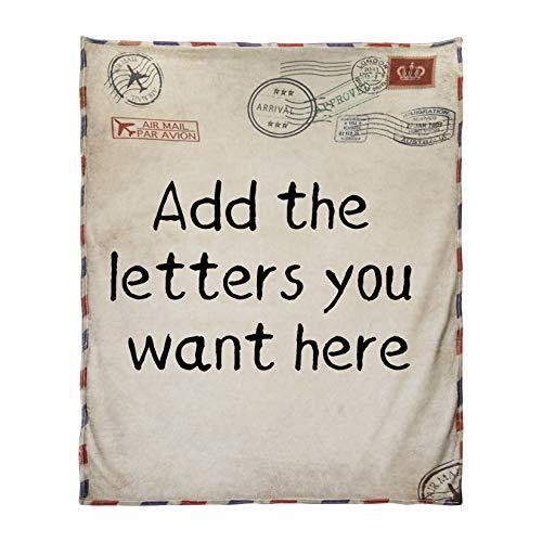 AHWZ Personalisierte Briefdecke, Benutzerdefinierte Wurfdecke Retro Stempel Luftpost Zu Meiner Tochter Von Mutter Vliesdecke Für Couch Sofa Schlafzimmer