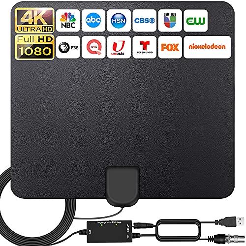 2021 Más Nuevo Antena Interior TV,320KM Alcance con Amplificador de Señal Antena de TV Digital HD para Interiores,Gratuita con Cable Coaxial de 5M, 4K 1080P, Antena de TV más Potente