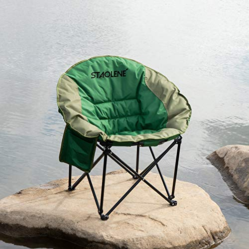 STAOLENE Moon Saucer Camping Chair,Lightweight Camping Round Chair with External Pocket,Carry Bag,Portable Folding Chair Stable Padded Sofa Chair for Hiking