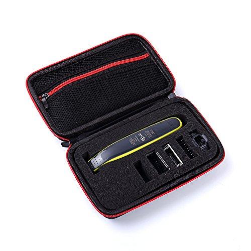 Estuche de almacenamiento XuBa para afeitadora Phil-ips Norelco OneBlade QP2520/90 QP2520/70 Estuche duro organizador portátil bolsa de transporte rojo electrónico